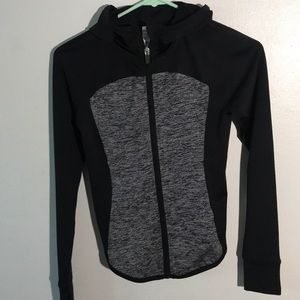 Black and grey athletic zip up shirt